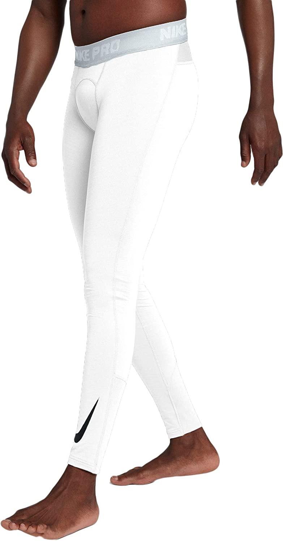 Nike Mens' Pro Warm Thermal Tights, White/Black, X-Large