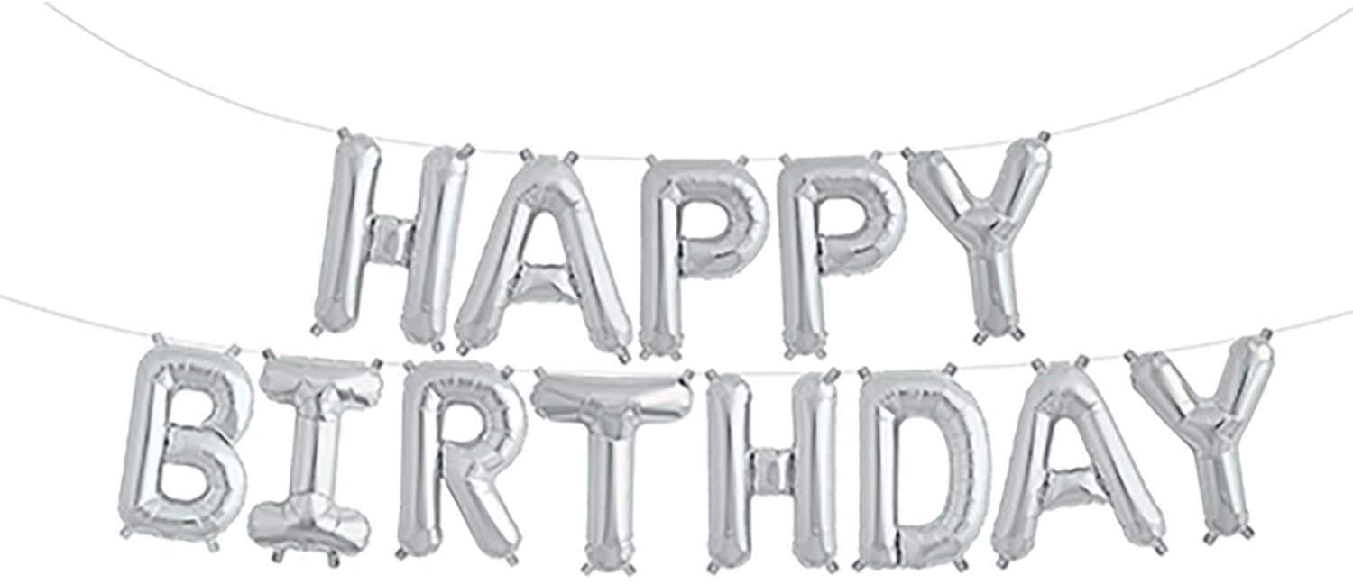 Happy Birthday Banner, 3D Happy Birthday Letter Balloons, 16 inch Aluminum Foil Balloons for Birthday Decoration (Silver)