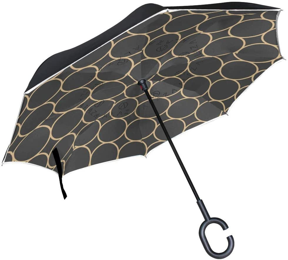 senya Double Layer Inverted Umbrellas Black Geometric Circles Folding Umbrella Windproof UV Protection Upside Down for Car Rain with C-Shaped Handle