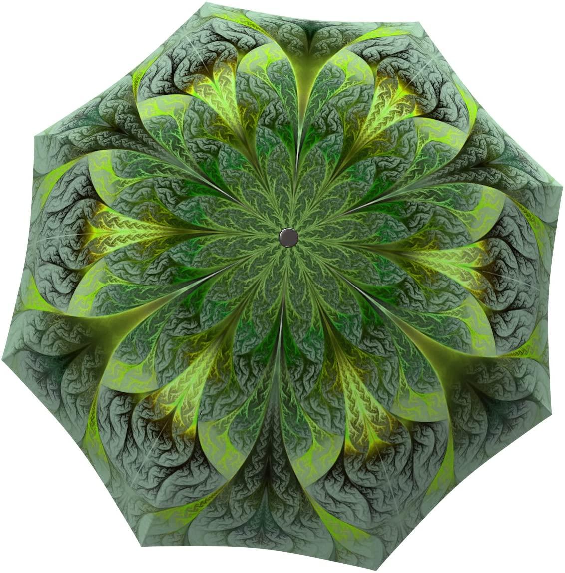 Floral Umbrella Windproof Compact for Travel - Brand Umbrella for Women - Lightweight Portable Rain Umbrella - Unique Gift Umbrella Green Flower Design - Folding Colorful Umbrella with Sleeve by LB