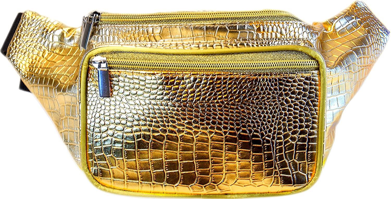 SoJourner Holographic Rave Fanny Pack - Packs for festival women, men | Cute Fashion Waist Bag Belt Bags (Gold Gator)