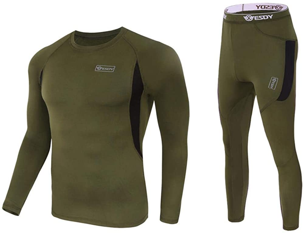 Men's Thermal Underwear Set Sport Long Johns Base Layer for Male, Winter Gear Compression Suits for Skiing Running Fitness