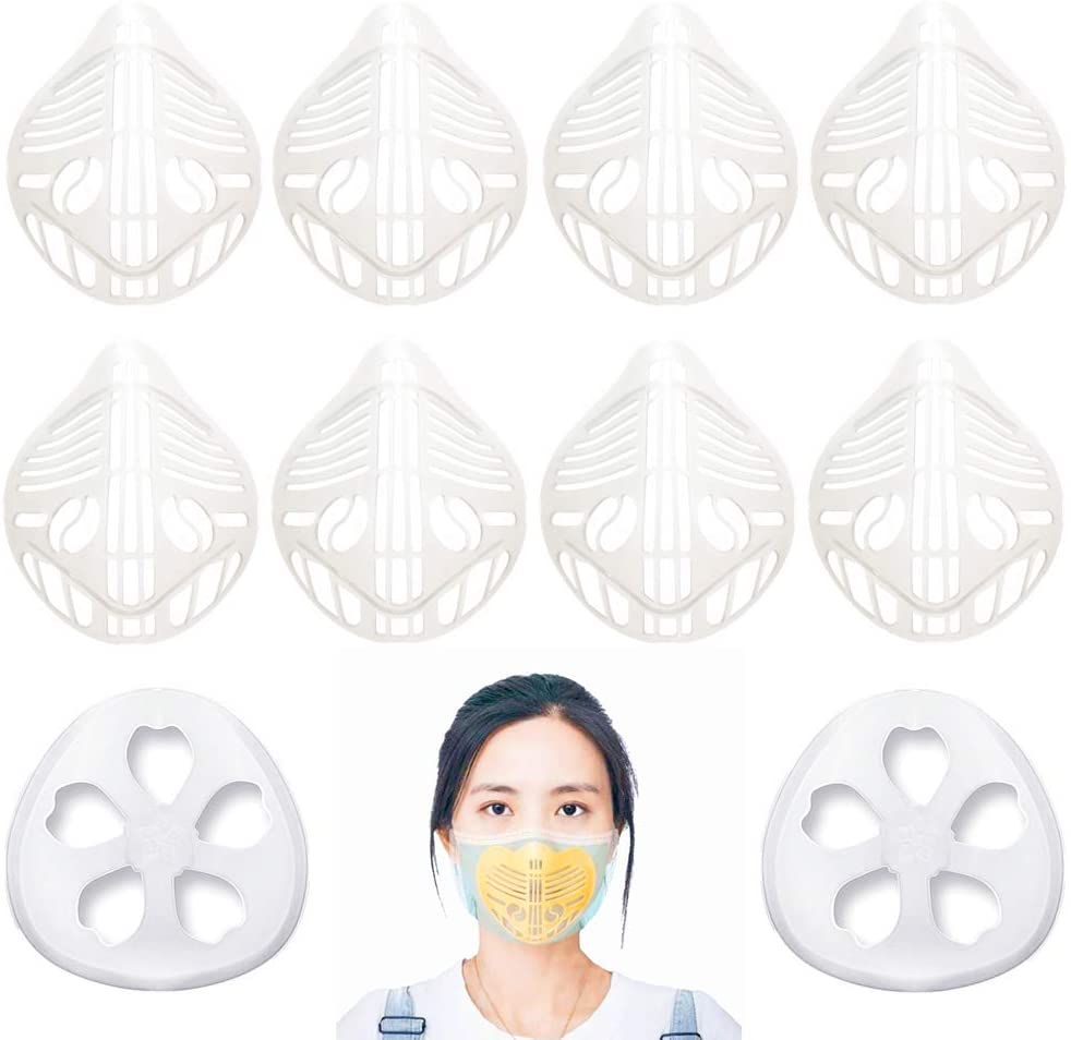 3D mask bracket face mask inner support frame self-made cloth mask holder nose pad lipstick protection can prevent stuffiness and skin discomfort 3d face mask reusable (White 10)