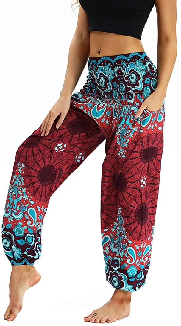 Honeystore Women's Boho Harem Yoga Pants Hippie Tapered Loose Beach Trousers