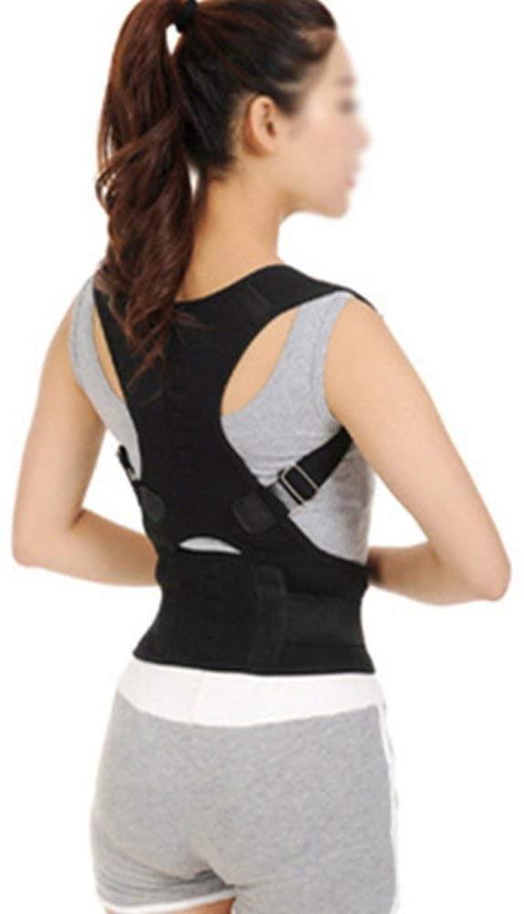 Denshine Posture Corrector Fully Adjustable Breathable Clavicle Chest Back Magnet Support Brace for Improves Posture & Provides Lumbar Support, Back Pain Relief, Men & Women (L)