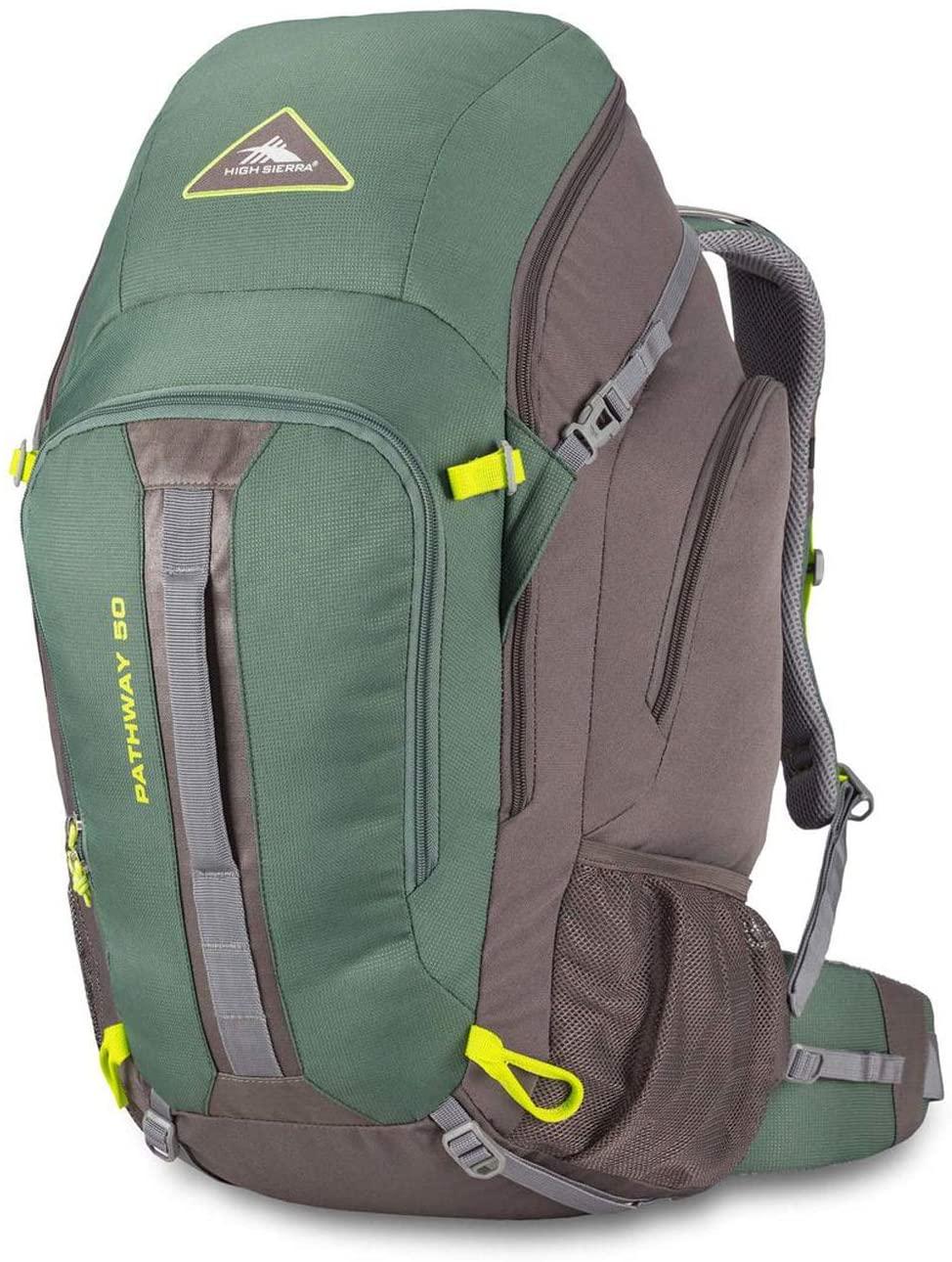 High Sierra Pathway Internal Frame Hiking Pack, Pine/Slate/Chartreuse, 50L