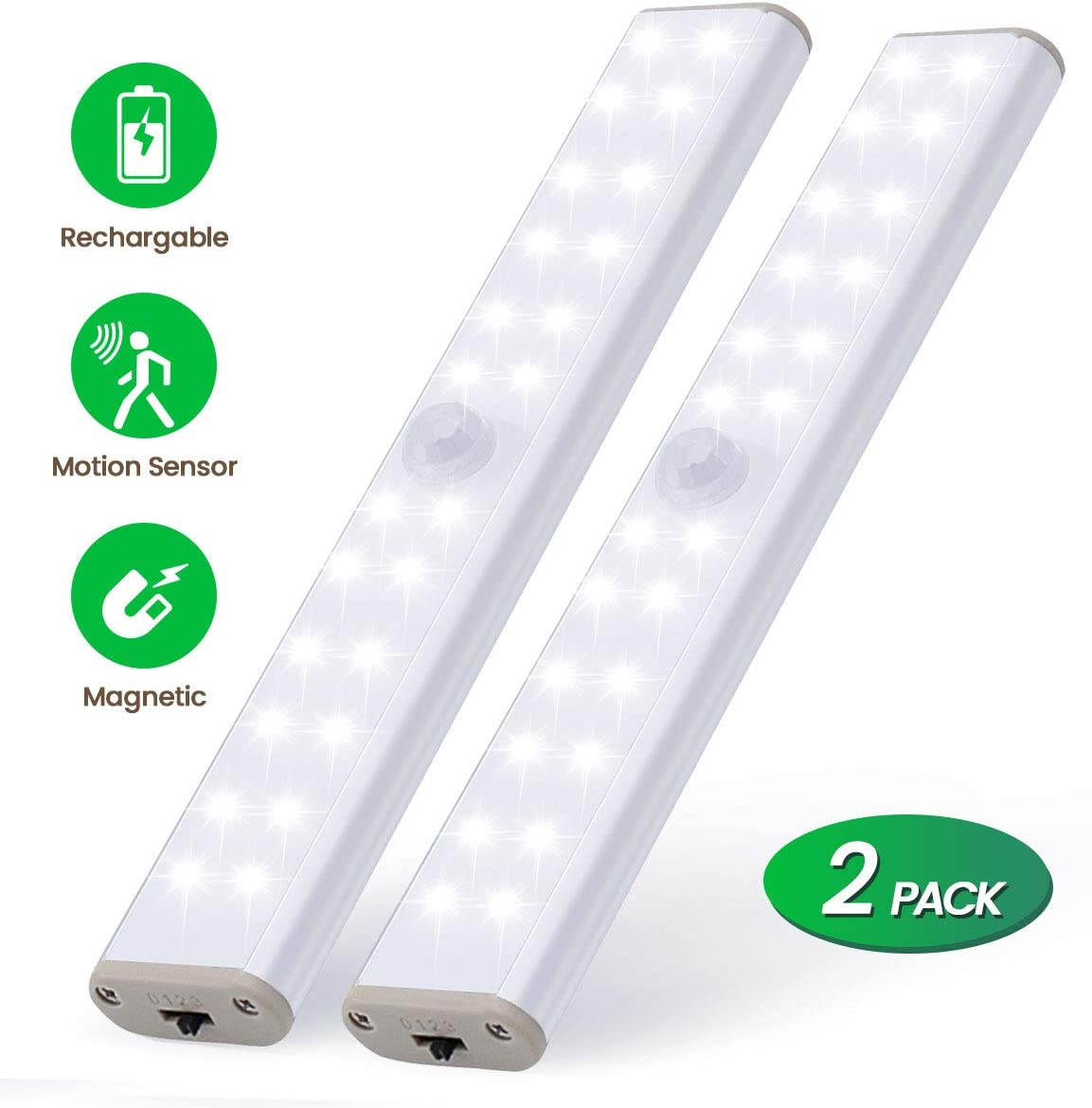 LKESBO LED Under Cabinet Light Indoor Motion Sensor 24 LED Rechargable 2 Pack Closet Lights Kitchen Motion Lighting Battery with USB Cable Magnet Bar for Cabinet Kitchen Stairs Hallway