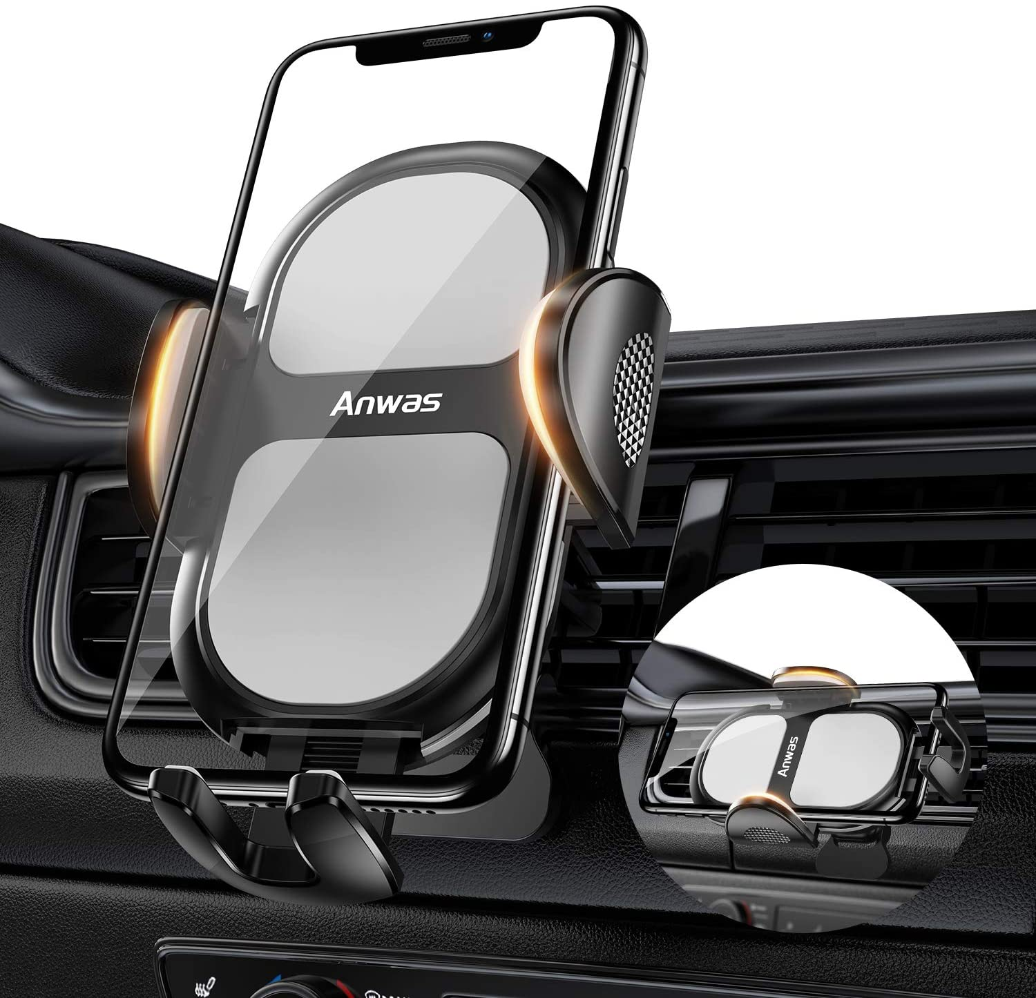 Car Phone Mount, Anwas Universal Cell Phone Holder for Car [2020 Upgrade] Smartphone Mount for Air Vent 360°Rotation Fit for iPhone 11 Pro Max XR XS X 8 8Plus 7 7Plus SE 6s 6 Galaxy S20 S20+/S10