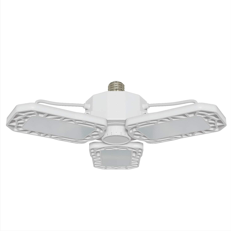 Solus LE26G60W6K White LED Garage Light with Adjustable Panels & Glare Free Frosted Lens