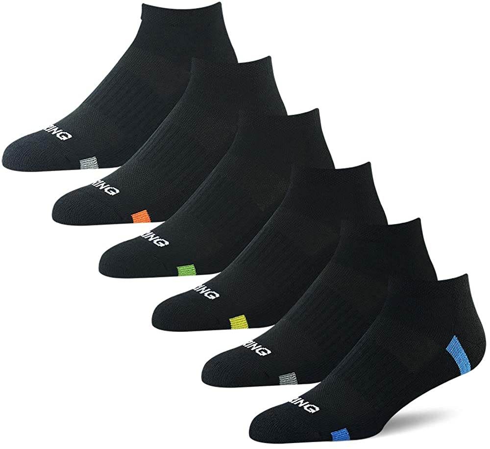 BERING Men's Athletic Cushion Low Ankle Socks for Running, Gym, Workout (6 Pack)