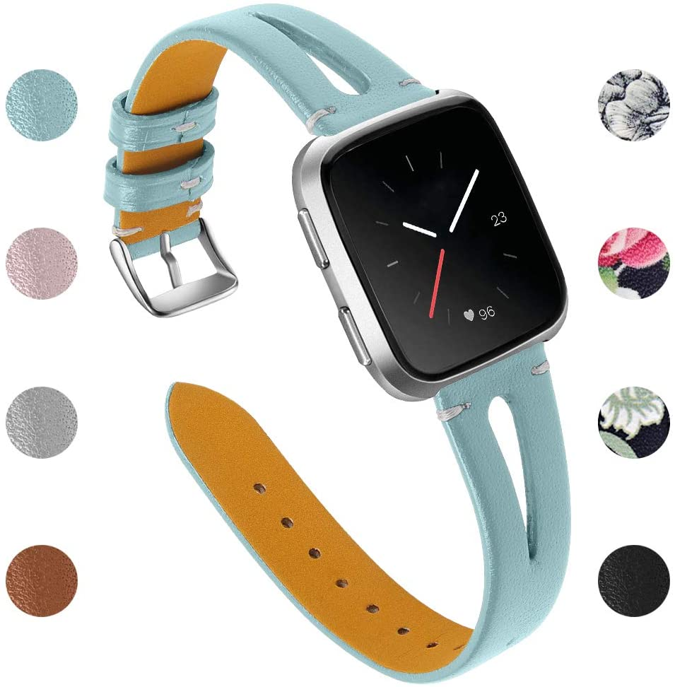 Joyozy Genuine Leather Bands Compatible with Fitbit Versa 2&Fitbit Versa Lite&Fitbit Versa&Fitbit Versa SE Smartwatch Slim Wristbands Replacement Women Men Breathable Triangle Design Strap Smoky Blue