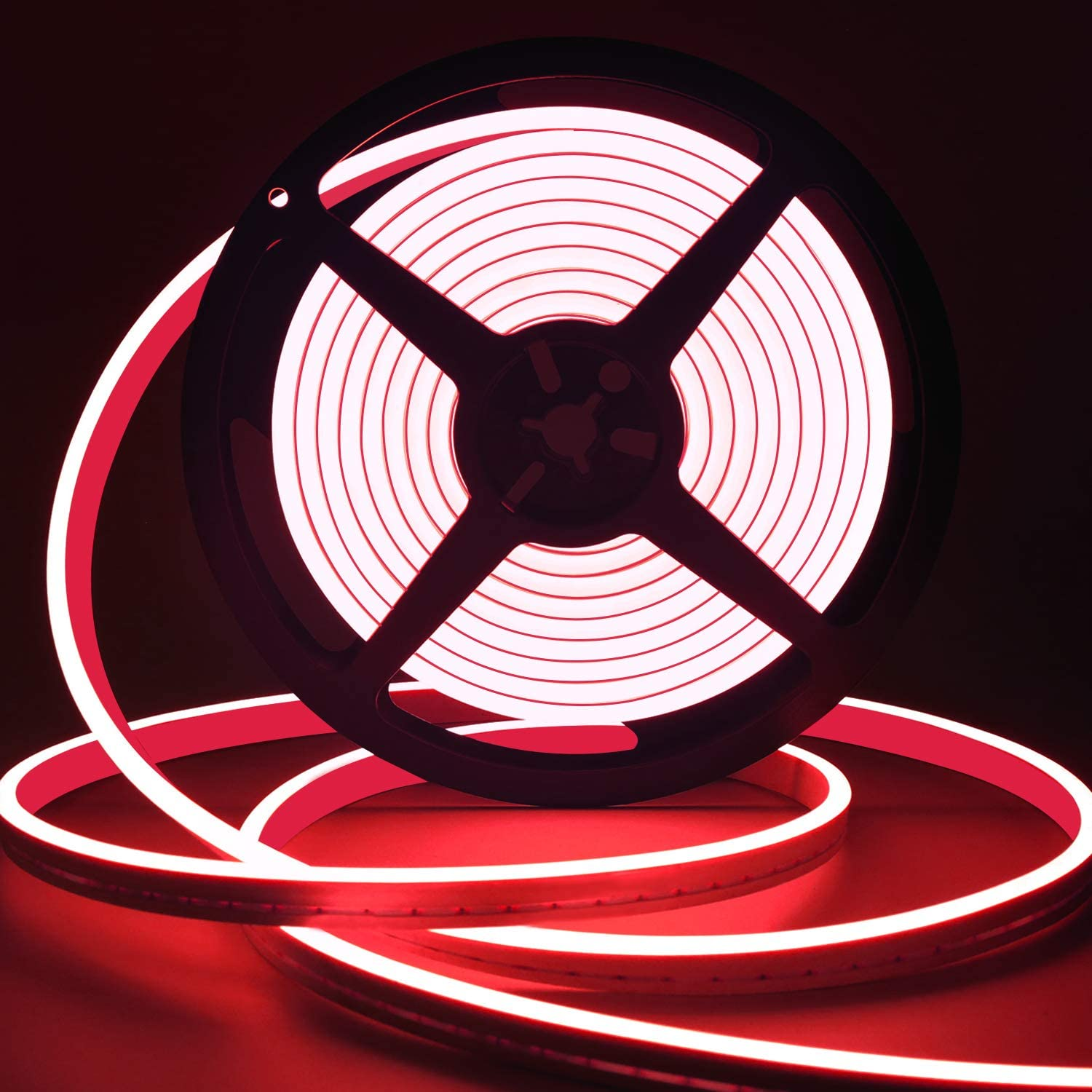 LED Strip Lights Red, Neon Rope Lights Outdoor Flexible Neon Light Rope IP65 Waterproof Silicone 12v LED Light Strip Red Heat-Resistant 16.4Ft for Indoor Outdoor Home Decoration (Red)
