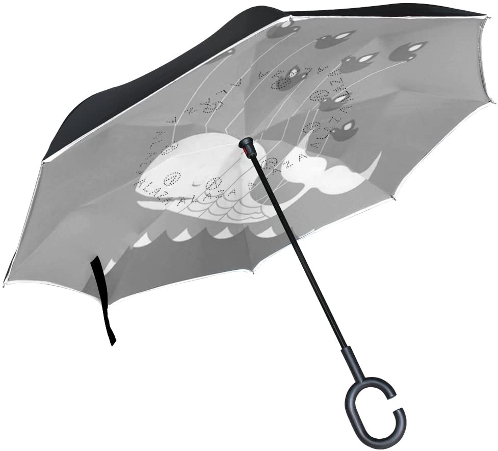 OREZI Whale and BirdInverted Umbrella Double Layer Reverse Umbrella Windproof UV Protection C-Shaped Self-Stand Umbrella for Car Rain Outdoor Travel Woman Man