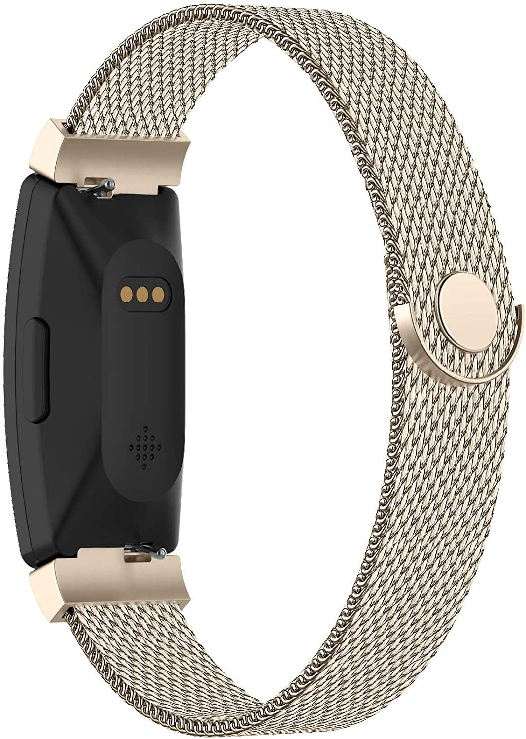 POY Compatible with Fitbit Inspire Hr Bands, Stainless Steel Replacement for Fitbit Inspire and Ace 2 Metal Loop Bracelet Sweatproof Wristbands for Women Men Champagne Large