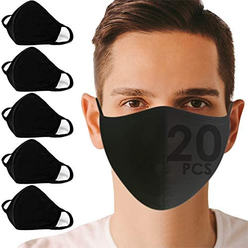 [[Set 20]] Fashion Black Face_Dust_Masks Reusable Washable, Protective Mouth_Masks Cloth Breathing for Unisex, Men, Women, Teen