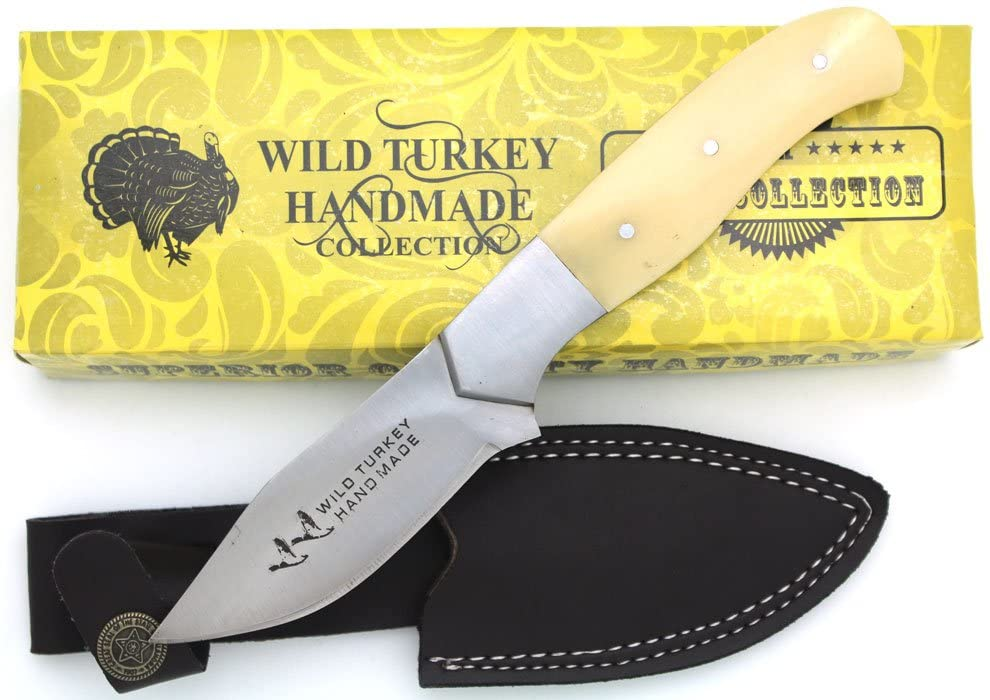 Wild Turkey Handmade Collection Full Tang Natural Camel Bone Fixed Blade Hunting Knife w/Leather Sheath Outdoors Fishing Camping