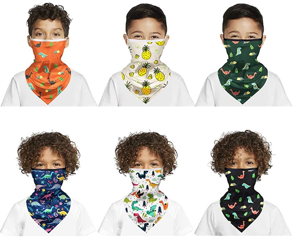 6PCS Kids Dinosaur Floral Print Bandanas Animal Neck Gaiter Scarf Sport Headwear UV Protection Dust Balaclava for Girls Boys