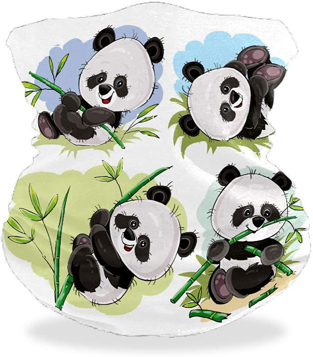 Playful Panda Bear Baby Bamboo Bandana Face Mask for Dust Wind UV Sun Product Neck Gaiter Helmet Liner Headwear Balaclava Scarf Outdoors Mask for Women Men Adults Kids