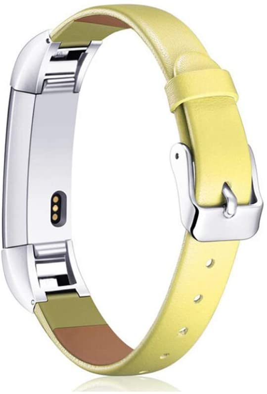 MIADEAL Bands for Fitbit Alta HR, Genuine Leather Replacement Straps, Adjustable (Yellow)