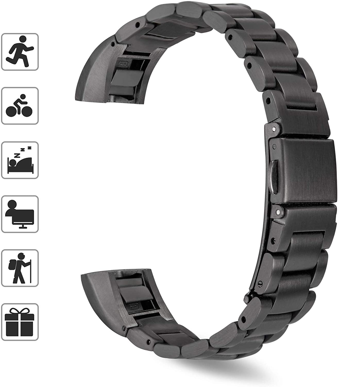 TOMALL Metal Bands Compatible for Alta and Alta HR,Stainless Steel Metal Replacement Wristband for Women Men (Black)