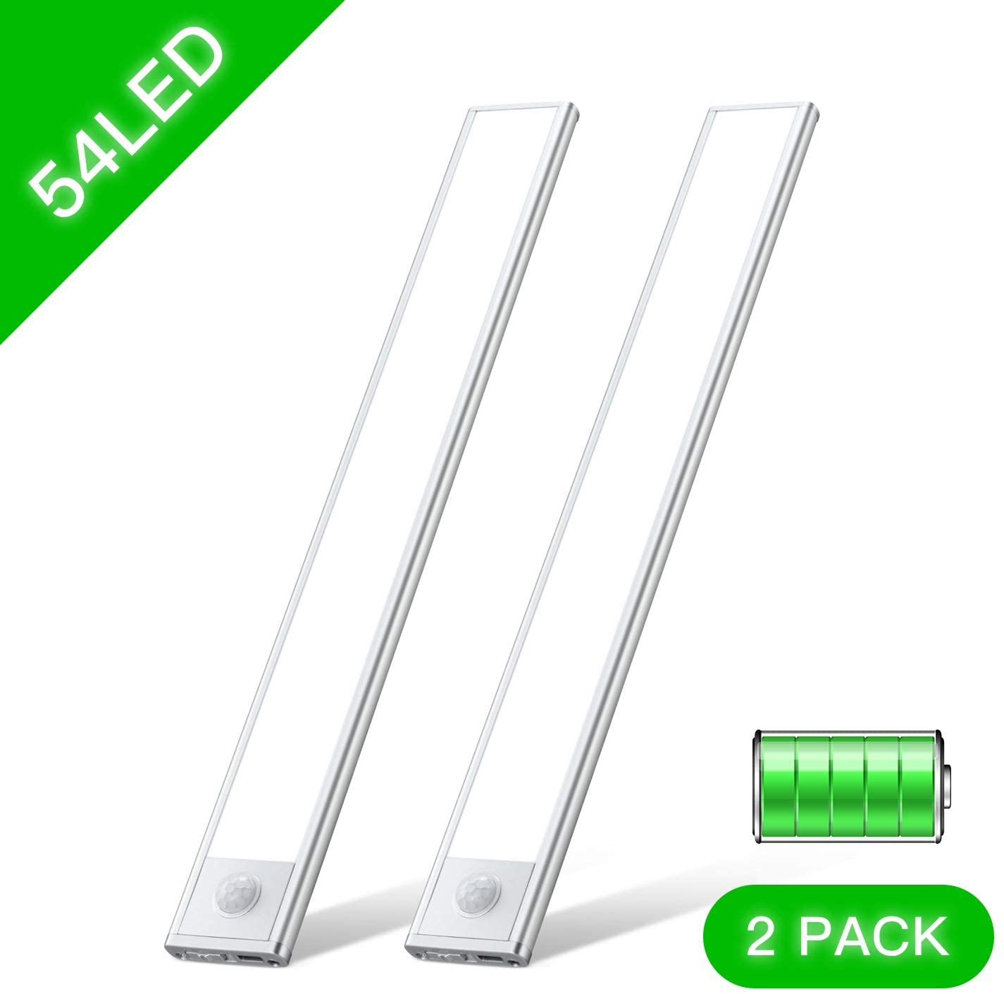 Otdair 54 LED Motion Sensor Closet Light Wireless USB Rechargeable Under Count Cabinet Lighting Cool White Night Light with Battery for Cupboard,Wardrobe,Bedroom or Kitchen,2 Pack