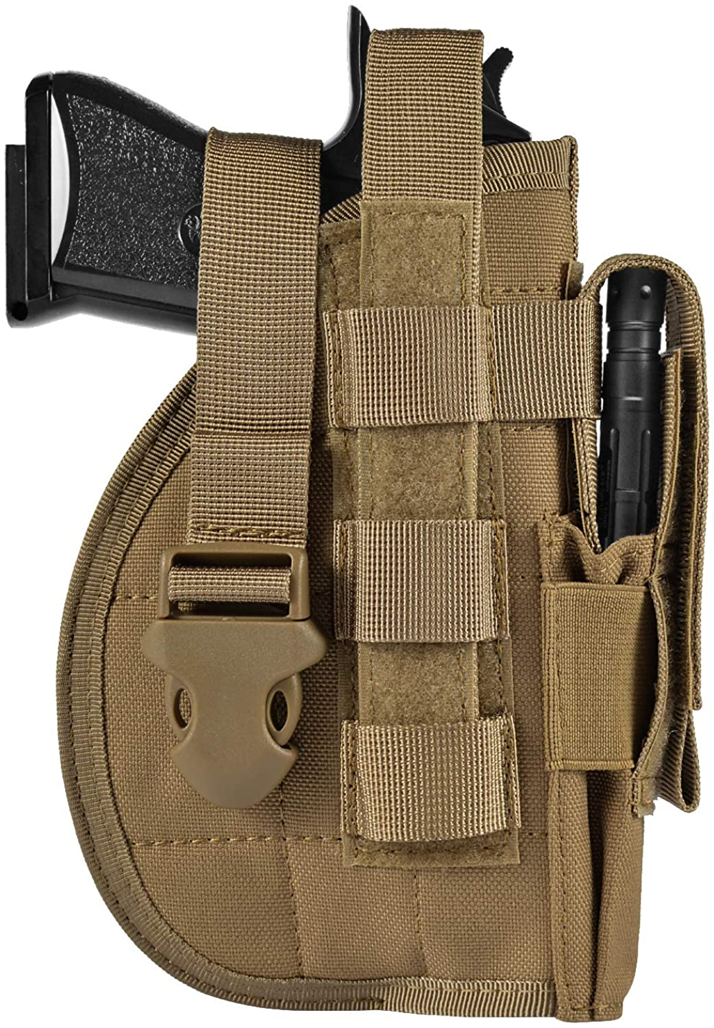 DYJ Tactical Pistol/Gun Molle Belt Holster with Magazine Pouch for Left or Right Handed Shooters S&W M&P Shield Glock 26 30 42
