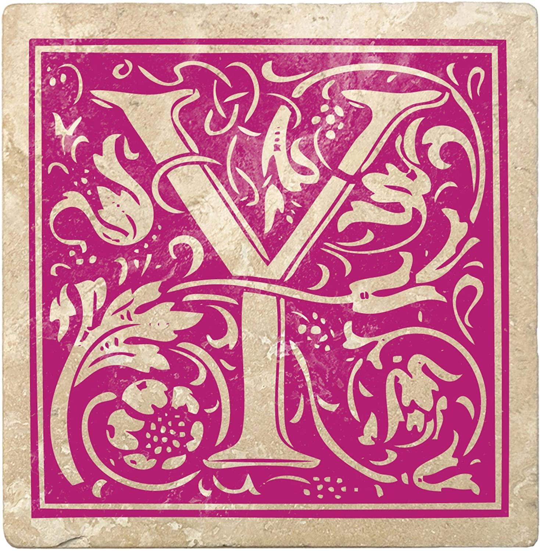 4pc Ivory and Tutti Frutti Pink Alphabet