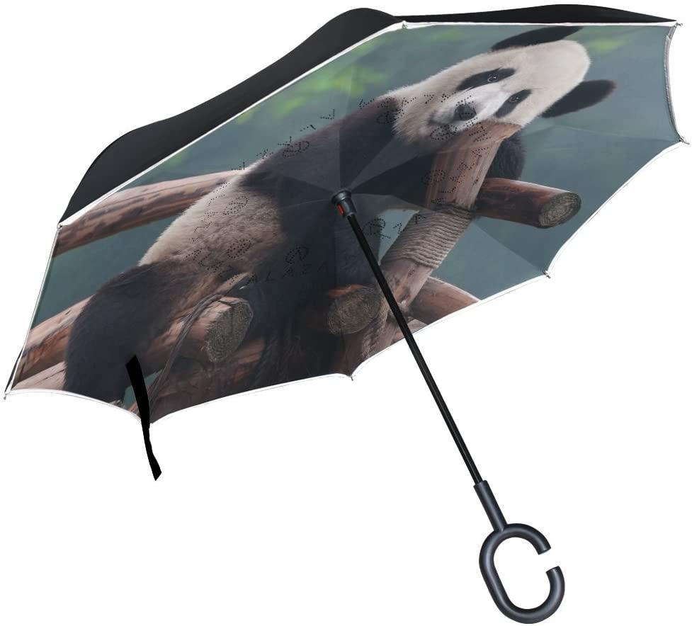 ALAZA Stylish Cute Panda Bear Windproof UV Proof Reverse Folding Umbrella, Double Layer Travel Inverted Umbrella with C Shape Handle for Car Use