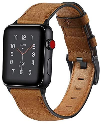 KEYSJEFF Compatible with Apple Watch Band 42mm 38mm 44mm 40mm Replacement Genuine Leather Vintage Strap Wristband for Iwatch Bands Men Women 83011 (Yellow Brown,42mm/44mm)