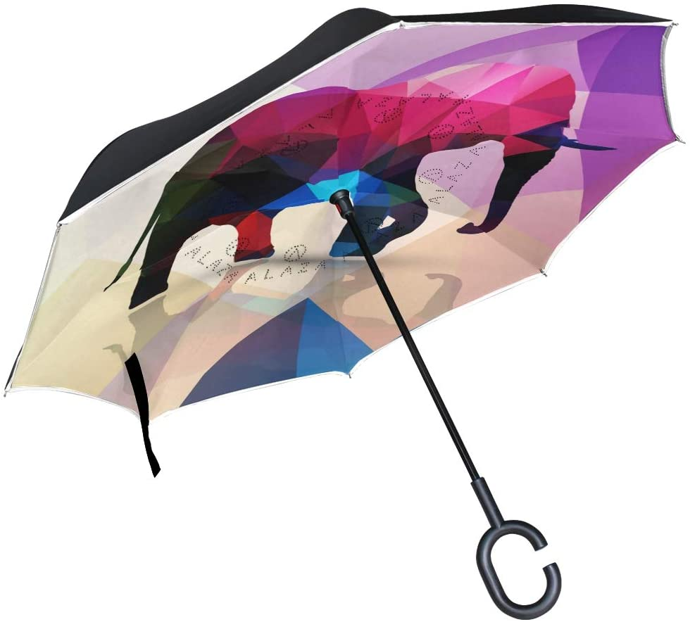 SUABO Double Layer Inverted Umbrellas Reverse Folding Umbrella Abstract Colorful Elephant Windproof Umbrella for Car Rain Outdoor with C-Shaped Handle