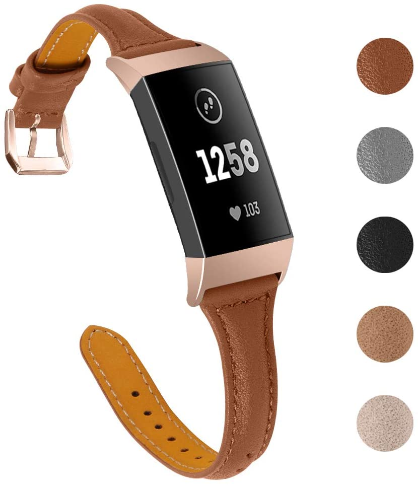 Joyozy Slim Genuine Leather Bands Compatible for Fitbit Charge 3/4 and Charge 3 SE Smart Watch,Adjustable Classic Replacement Wristband Avaiable 5 Colors