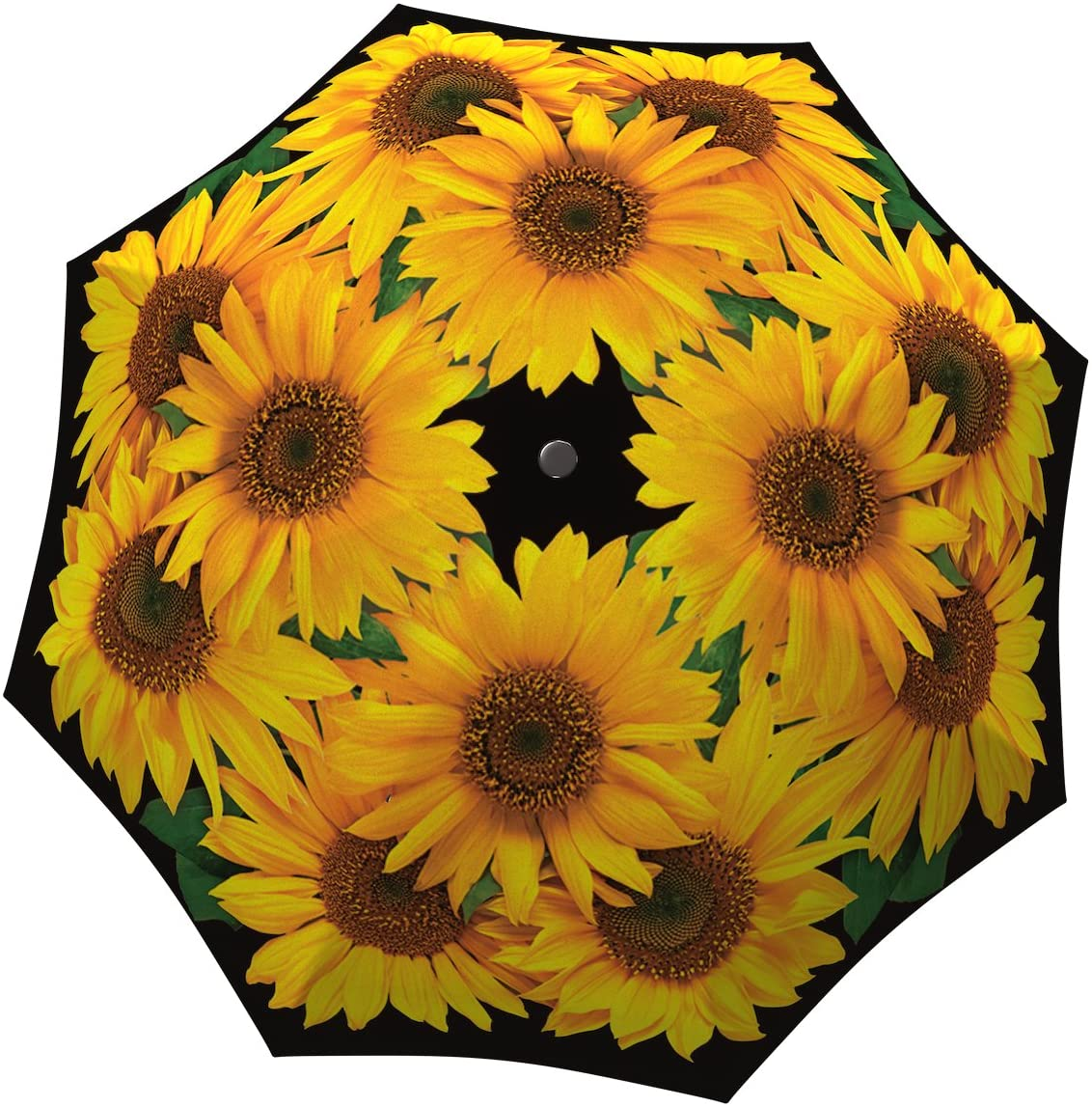 Designer Umbrella Windproof Auto Open Close - Art Umbrella for Women - Fashion Umbrella Stylish Gift - Compact Automatic Rain Umbrella Sunflowers Design - Vintage Yellow Flowers Umbrella Travel by LB