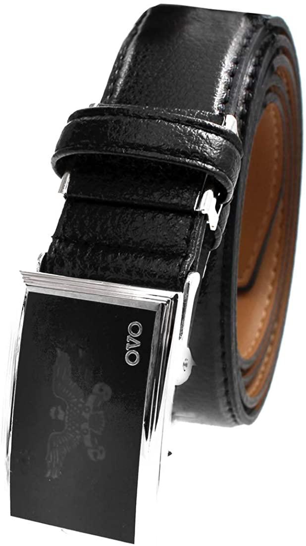 Eagle Buckle Classic Mens Belt Genuine Leather Belts Automatic Sliding Ratchet Adjustable Black Belt