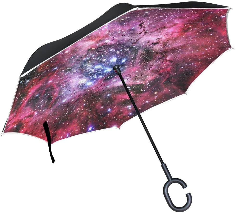 Art Red Space Galaxy Inverted Umbrella for Car Travel Windproof Reversible Umbrella with C-Shape Handle for Men Women