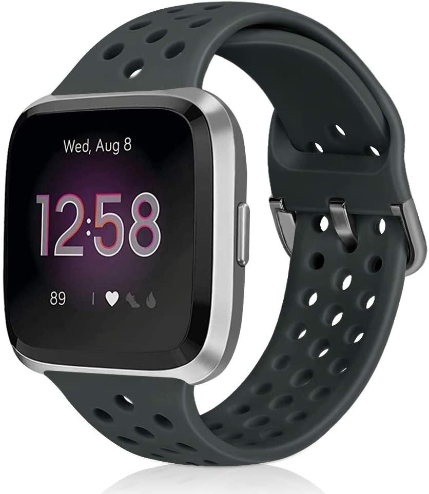Runostrich Sport Band Compatible with Fitbit Versa 2/Fitbit Versa/Versa Lite/SE, Soft Silicone Strap Replacement Breathable Wristband Accessories for Women Men (Dark Olive)