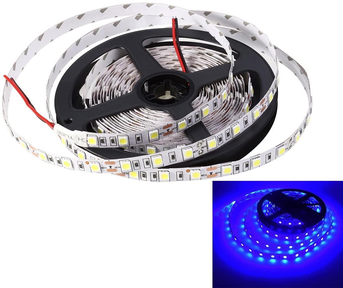 LEDMOMO 5M (16.4ft) Non-Waterproof Flexible DC 24V 300 SMD 5050 LED Strip Lights Lamp Outdoor Indoor (Blue Light)