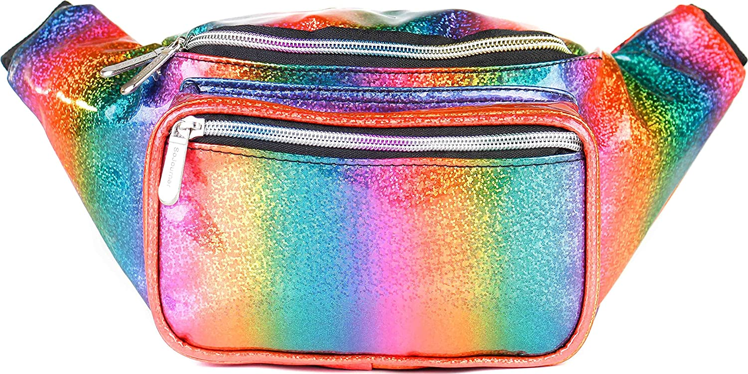 SoJourner Holographic Rave Fanny Pack - Packs for festival women, men | Cute Fashion Waist Bag Belt Bags (Rainbow Glitter)