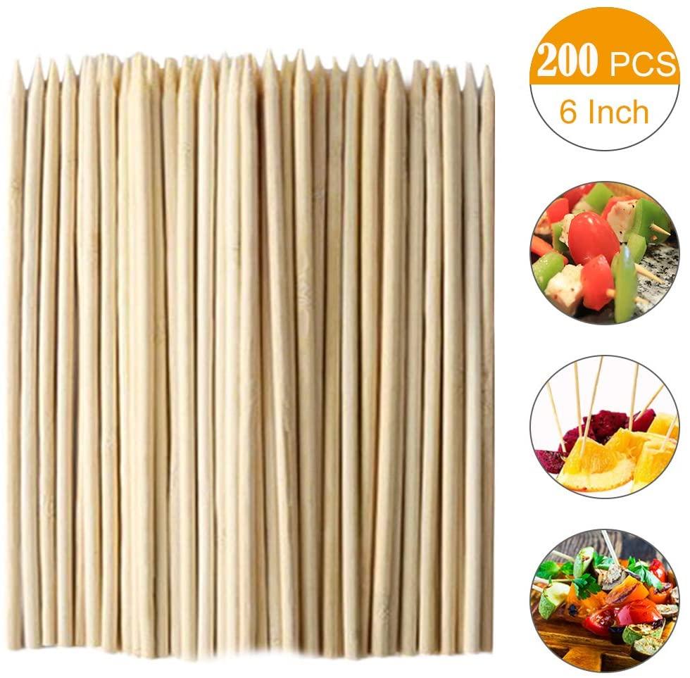 200pcs Bamboo Skewers Sticks,6 Inch Natural Bamboo Kabob Skewers for Shish Kabob, Grill, Appetizer, Fruit, Corn, Chocolate Fountain