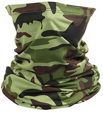 Cooling Neck Gaiter Face Scarf Sun Shield Balaclava Bandana Headband (Camo Dark Green)
