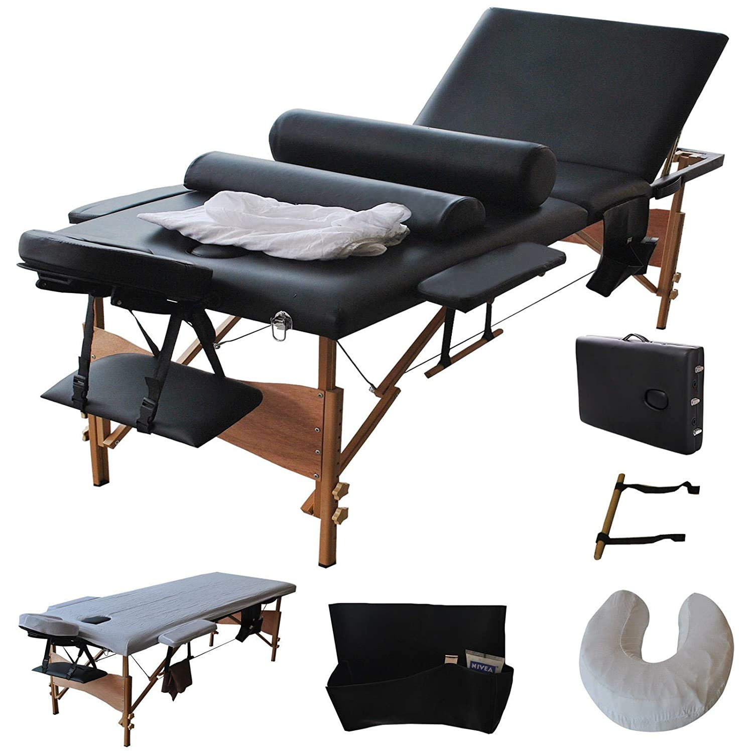 Portable Massage Table, BestComfort 84inch 3 Fold Massage Bed Height Adjustable Spa Bed Facial Cradle Salon Bed with Carrying Case, Black
