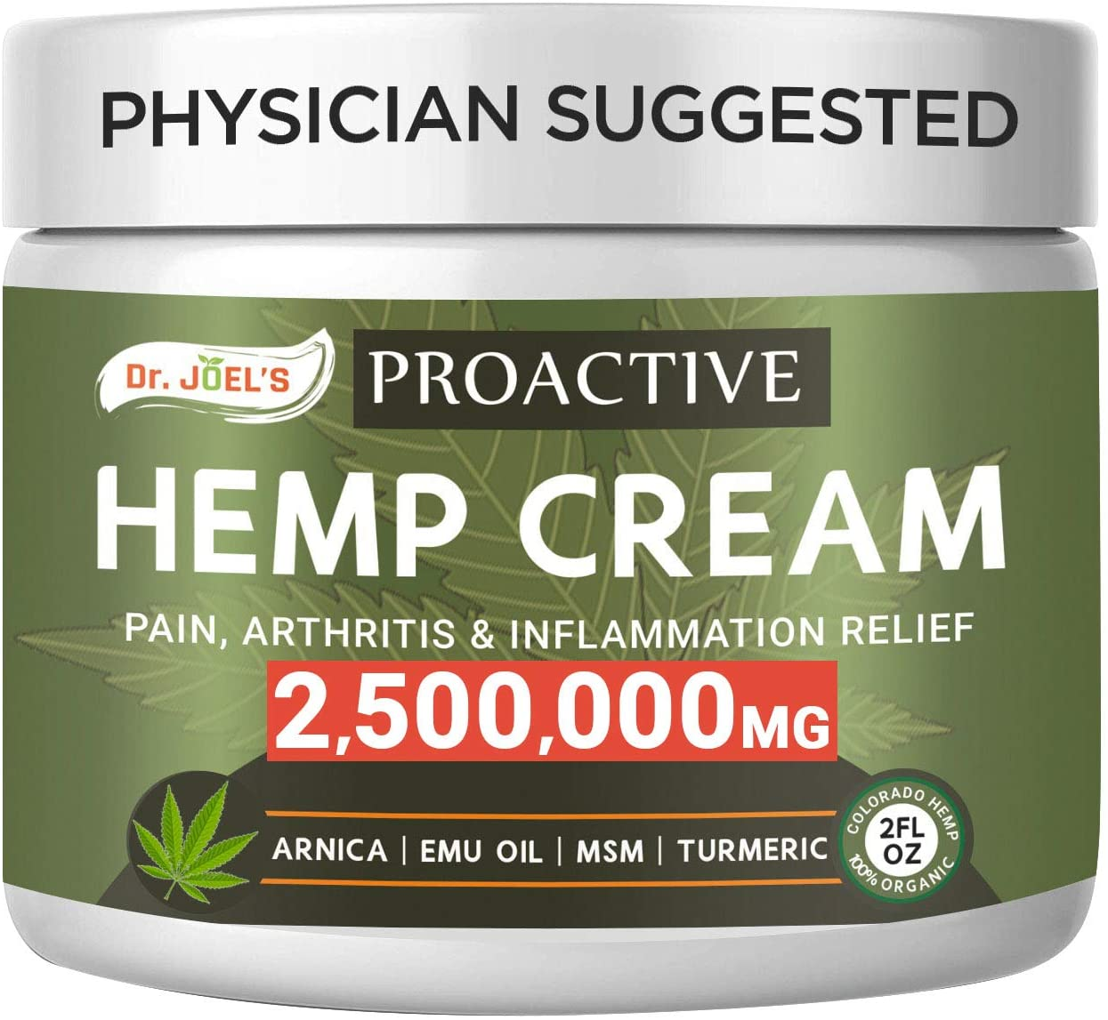 Proactive Pain Relief Cream - 2,500,000 Extract - Maximum Strength Muscle, Joint & Arthritis Relief Cream - Made & 3rd Party Tested in USA