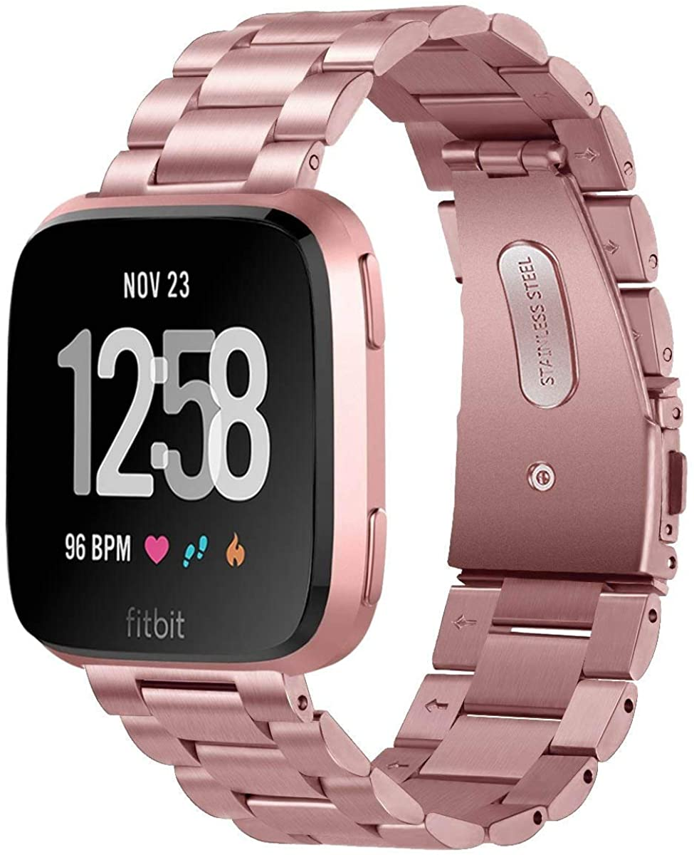 MEFEO Metal Bands Compatible with Fitbit Versa/Versa 2/Fitbit Versa Lite Edition, Stainless Steel Metal Band Solid Strap Wristband Replacment for Fitbit Versa Band Men Women