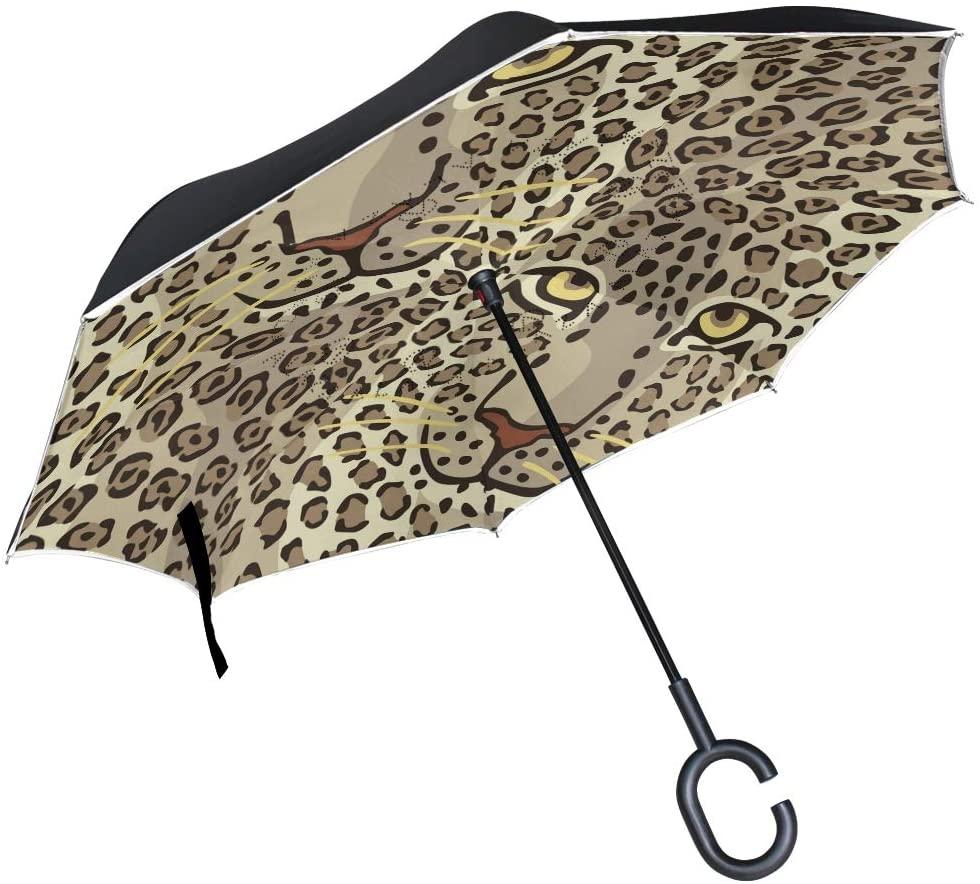 senya Double Layer Inverted Umbrellas Animal Print Leopard Couple Folding Umbrella Windproof UV Protection Upside Down for Car Rain with C-Shaped Handle