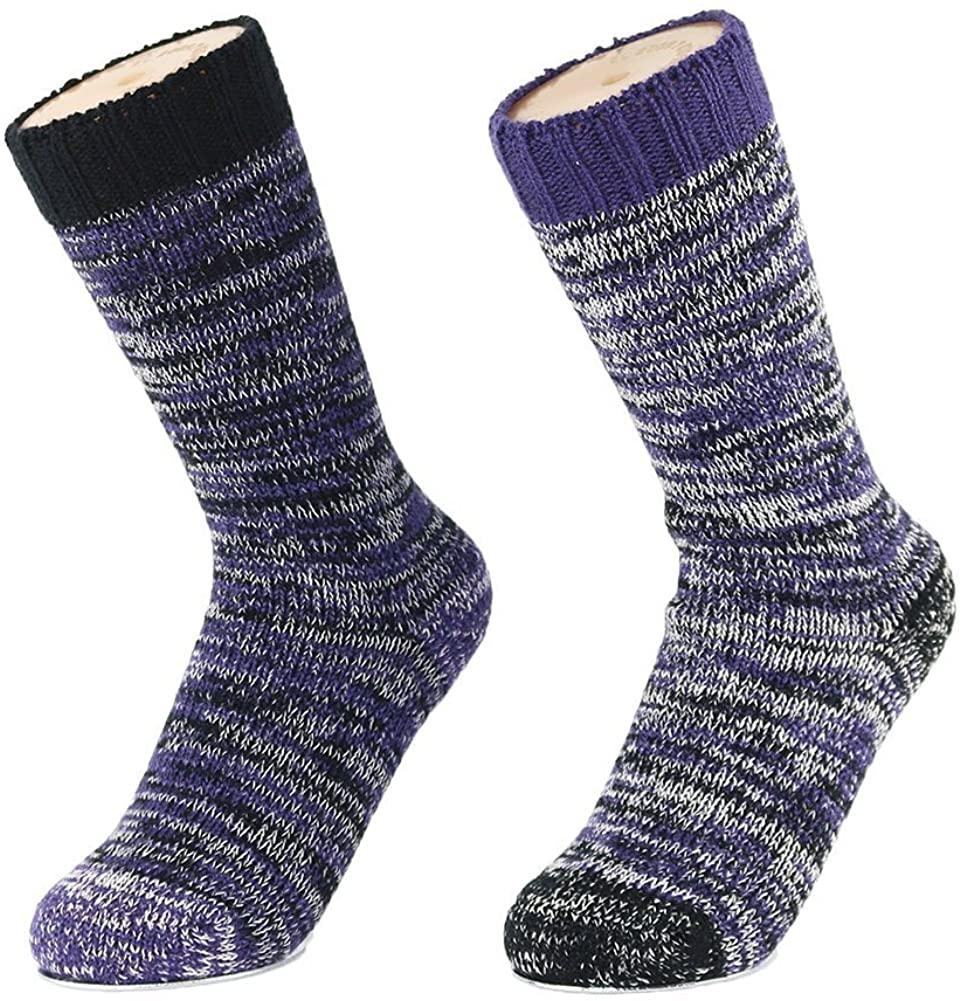 2 Pack Merino Wool Womens Socks for Winter Warm Casual and Sport Boot Crew Wool Hiking Socks for Women