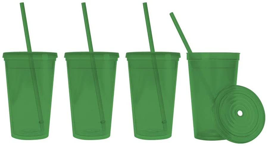 Made in the USA, 16 oz. Double Wall Insulated Plastic Tumblers with Lid and Straws, Set of 4 - Translucent Green