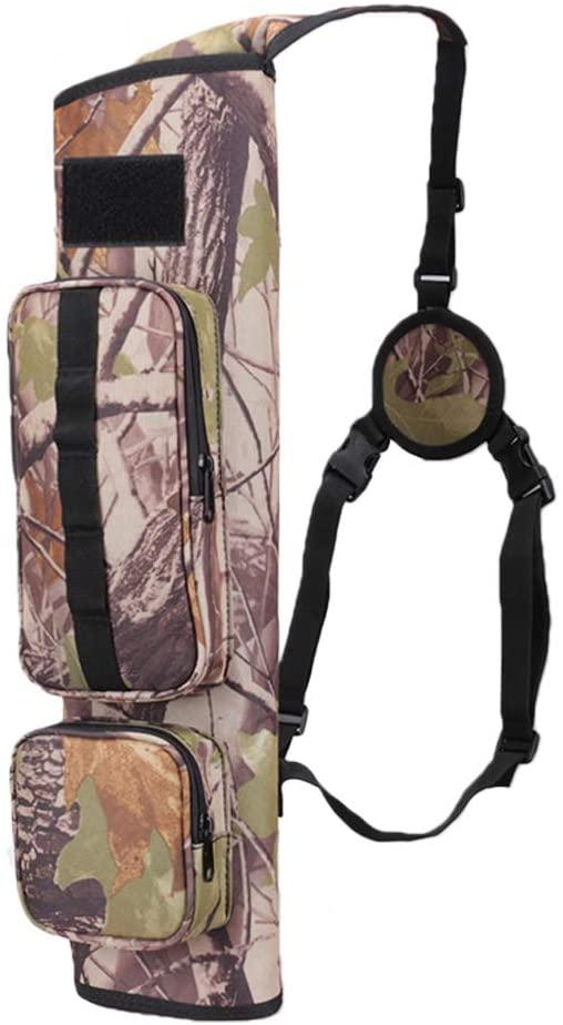 XTACER Back Arrow Canvas Quiver Hunting Training Camo Archery Target Quiver Holder Shoulder Bag Pouch Quiver, Back Quiver