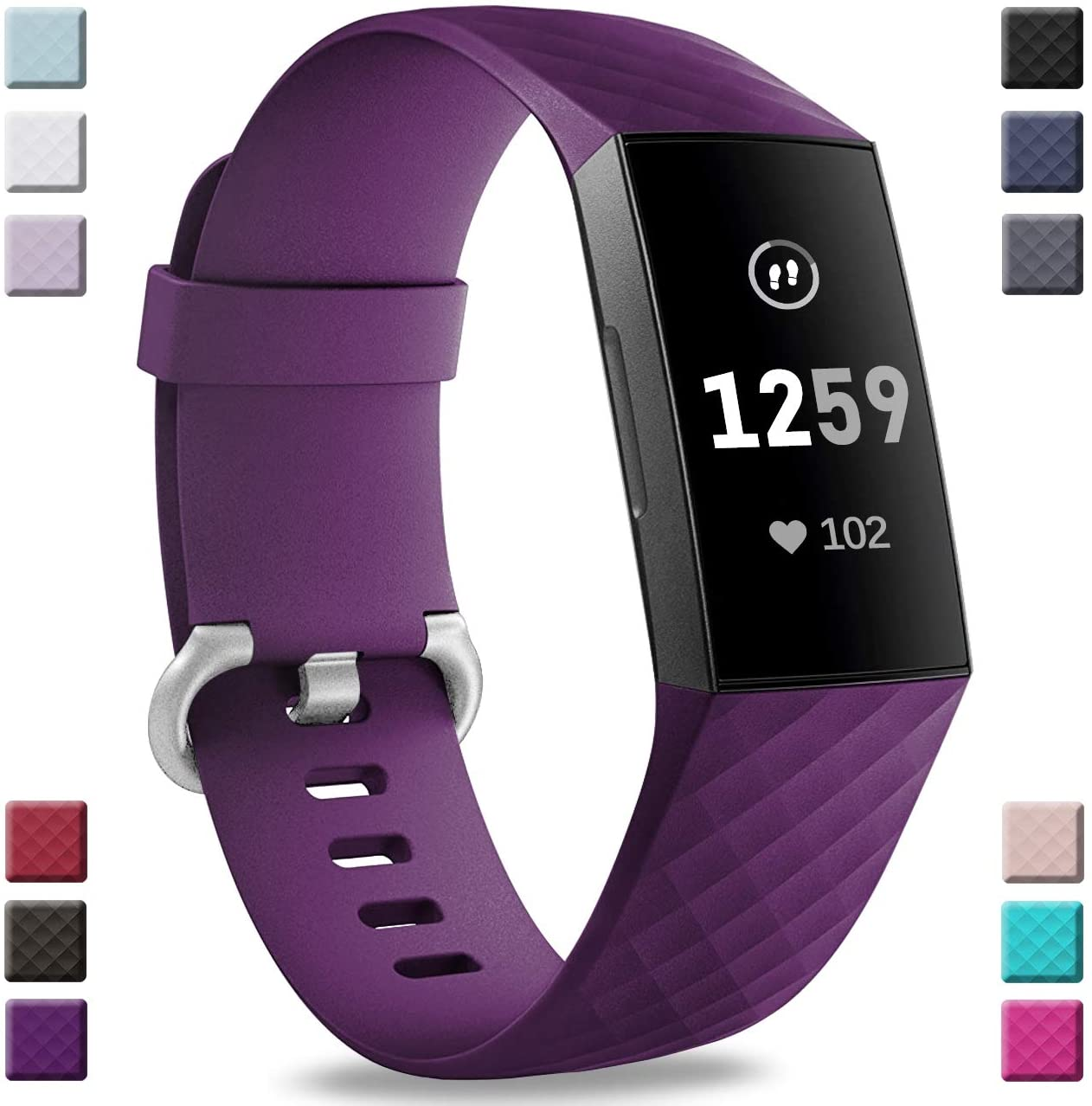 Hamile Bands Compatible with Fitbit Charge 4 / Fitbit Charge 3 / Fitbit Charge 3 SE, Waterproof Replacement Watch Strap Fitness Sport Band Wristband for Women Men, Small, Plum