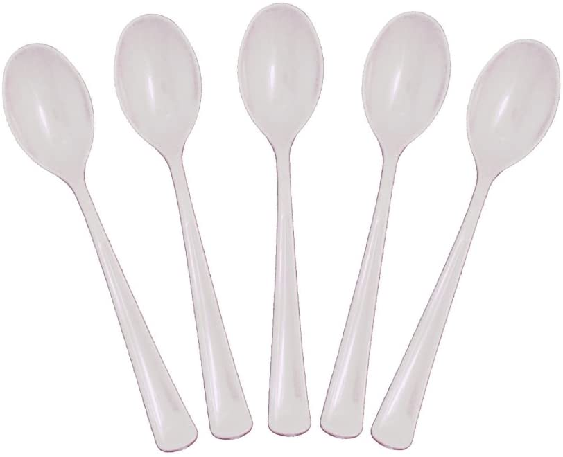 Exquisite Solid Color Premium Plastic Cutlery, Heavy Duty Plastic Disposable Spoons - 50 Count - Clear