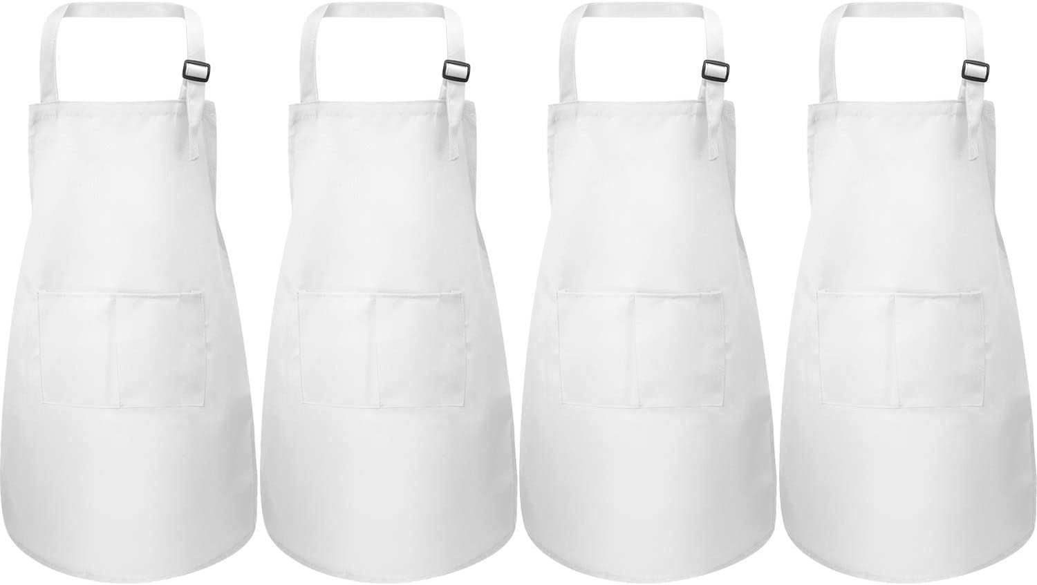 Yaomiao 4 Pieces Kids Apron with Pocket Children Adjustable Chef Apron for Cooking Baking Painting (White M for 7-13 Age)