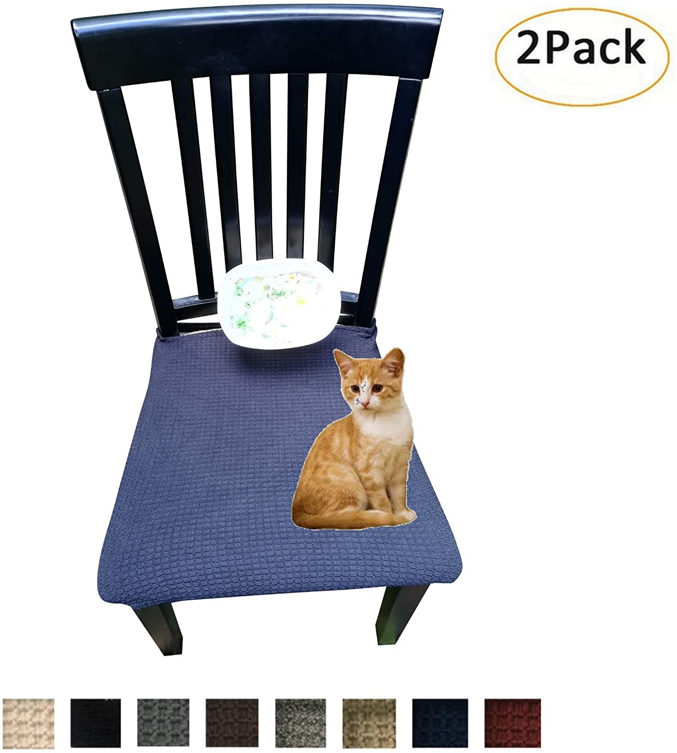 Waterproof Dining Chair Cover Protector - Pack 2 - Perfect For Pets, Kids, Elderly, Restaurants, Party - Machine Washable, Snugly Fit, Removable, Many Color Choices, Clean the Mess Easily (Black)